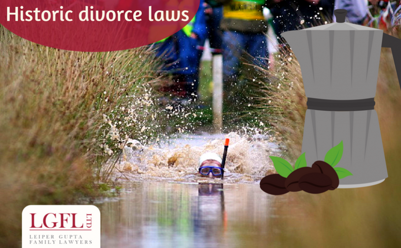Women in bog and coffee maker - Divorce facts