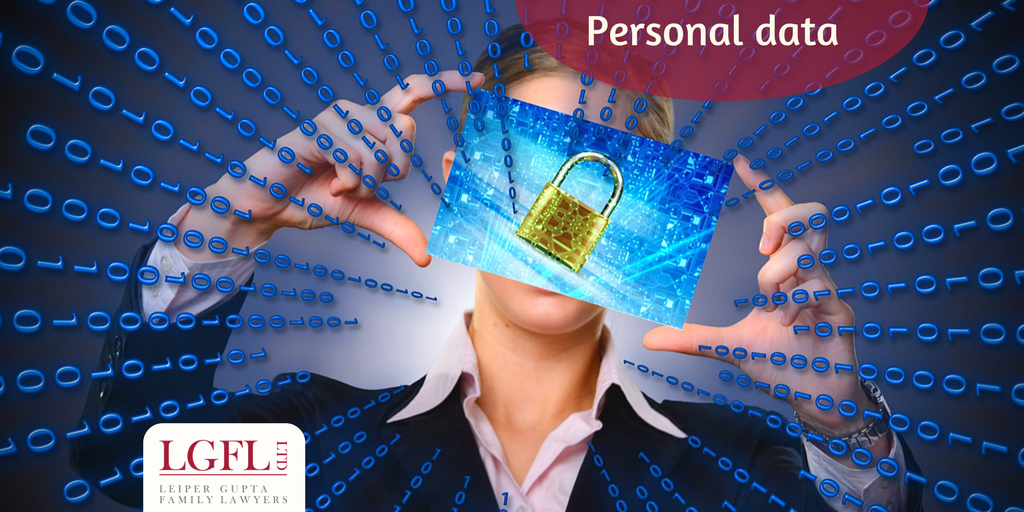 Woman with data surrounding her and a screen with a padlock infron of her face.