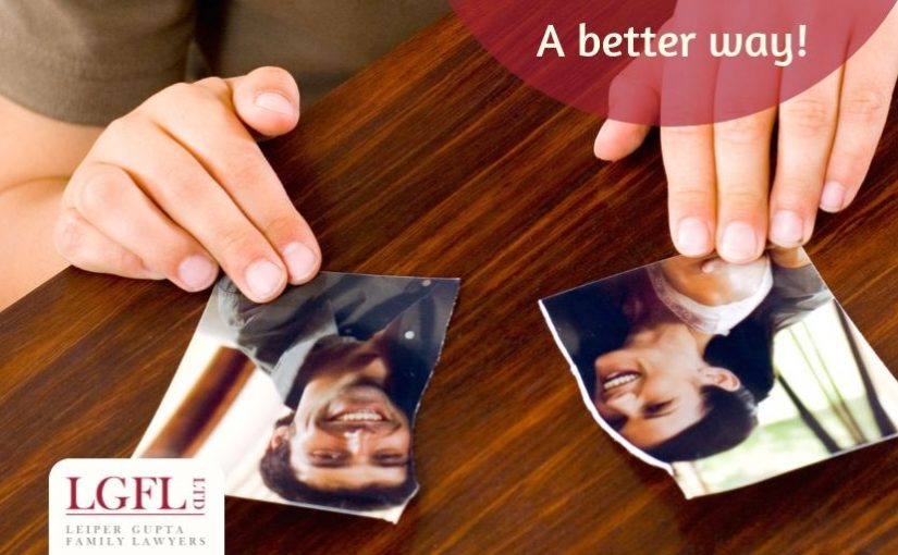 child with split photo of parents, divorce