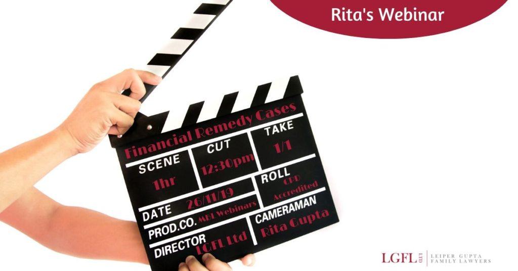 Clapperboard for Webinar with Rita Gupta