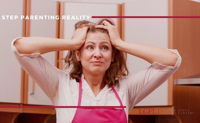 woman in kitchen stressed at the change in lifestyle becoming a step parent